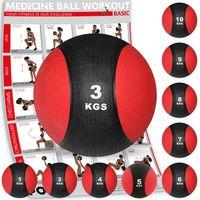 Medizinball Medizin Gewichtsball 1 - 10 kg inkl. Workout I Schwarz / Rot Gewicht: 3 kg