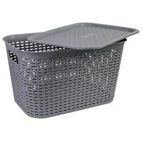 AXENTIA Kunststoff Wäschekorb mit Deckel Größe L, 43 x 25 x 29 cm, Kunststoffgeflecht, grau, Transportkorb