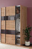 Wimex Schwebetürenschrank Kleiderschrank Schrank Altona artisan eiche grauglas 135cm