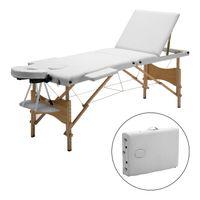 Meerveil Massageliege, 3 Zonen mobile Massageliege, Massagebank Kosmetikliege, klappbare Therapieliege tragbares Massagebett, Höhenverstellbar Holzfüße, Weiß