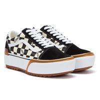 Vans Old Skool Stacked Checkerboard Womens White / Black Trainers