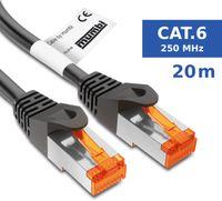 mumbi LAN Kabel 20m CAT 6 Netzwerkkabel geschirmtes F/UTP CAT6 Ethernet Kabel Patchkabel RJ45 20Meter, schwarz