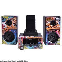 Lenco Stereoanlage MC-020, Bluetooth, USB, Radio Funktion, Graffiti Design