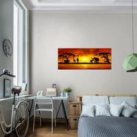 Bilder Strand Sonnenuntergang Wandbild 100 x 40 cm Vlies Leinwand Bild XXL Format Wandbilder Wohnzimmer Wohnung Deko Kunstdrucke Rosa Grau 1 Teilig Fertig zum Aufh/ängen 018412b MADE IN GERMANY
