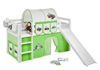 Lilokids Spielbett JELLE 90 x 190 cm Trecker Grün Beige- Hochbett - weiß - mit Rutsche und Vorhang - Maße: 113 cm x 198 cm x 98 cm; JELLE3054KWR-TRECKER-GRUEN-190