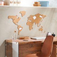 Weltkarte aus Kork, selbstklebend - mit 6 schwarzen Pins Pinnwand Wanddekoration
