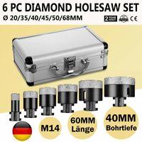 6x M14 Fliesenbohrer Diamantbohrer Diamantbohrkronen Winkelschleifer Ø 20-68mm Lochsäge Set Hohlbohrer Kernbohrer Profi Feinsteinzeug Diamant Bohrkronen