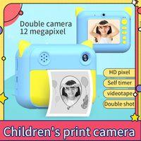 Kinderkamera, Thermodruckkamera, HD Polaroid, Kinderkameraspielzeug, blaues 32G (einschließlich 5 Rollen weißes Papier)