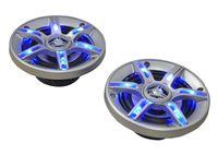 auna CS-LED5 - 3-Wege-Koaxial-Boxen , Auto Lautsprecher , Car HiFi Set , Einbau-Lautsprecher Paar , 2 x 300 W max. Leistung , 2 x 13 cm-Boxen , Neodymium-Tweeter , Blauer LED-Effekt , Silber