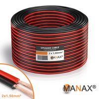 Lautsprecherkabel Audio Kabel Boxenkabel 100% CCA 25m 2x1,5mm² rot / schwarz