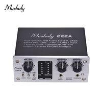 Muslady 222A 2-Kanal-USB-Audio-System-Schnittstelle Externe Soundkarte + 48V Phantomspeisung DC 5V Netzteil für Computer Smartphone mit USB-Kabel
