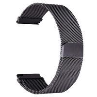 Schwarz Universal 22mm Edelstahl Mesh Armband Ersatz Uhrenarmbänder für HUAWEI WATCH GT 2 46mm / HONOR MagicWatch 2 46mm / MagicWatch