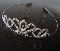 Diadem Tiara Krone Haarreifen Hochzeit Braut Prinzessin Schmuck silber H1272