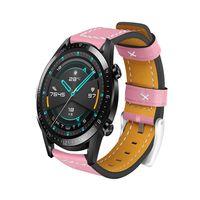 22mm Leder Uhrenarmband Quick Release Ersatz Uhrenarmband Smart Watch Band fuer Maenner Frauen Kompatibel mit HUAWEI WATCH GT 2 46mm / HONOR MagicWatch 2 46mm