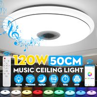 DIMMBAR 50CM 120W Deckenleuchte Deckenlampe Mp3 bluetooth Alexa/Google Home