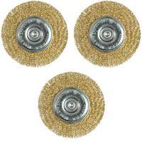 3 Stück Scheibenbürste 100 mm Stahlbürste Messing Bohrmaschine Rundbürste Kegelbürste Drahtbürste