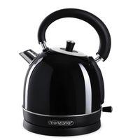 Monzana Wasserkocher 1,8 L Kabellos BPA Frei Retro Kocher Überhitzungsschutz Edelstahl 2200 W Küche Teekocher Tee, Farbe:schwarz