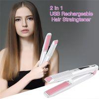 2 in 1 Mini Haarglätter und Lockenwickler Werkzeug Wiederaufladbares Tragbar Haar Styling Tool