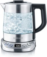 SEVERIN WK 3473 Glas-Tee-/Wasserkocher Deluxe Mini (ca. 2.200 W, mit Temperaturregler, Fr 1 L Wasser/0,75 L Tee) edelstahl/schwarz