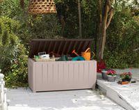 Keter-Novel Box 340 Liter-Auflagen- und Universalbox mit Sitzgelegenheit beige/espressobraun-6007EC