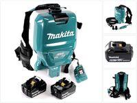 Makita DVC 265 GXU Akku Rucksackstaubsauger 36 V (2x 18 V) Brushless + 2x Akku 6,0 Ah - ohne Ladegerät