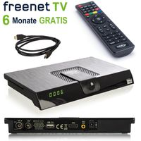 Xoro HRT 8720 DVB-T2 Receiver (6 Monate FREENET TV Gratis) + HDMI Kabel, HDTV, PVR Ready, USB TV Aufnahme und Mediaplayer, schwarz