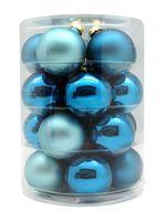 Weihnachtskugeln Glas 6cm, 20 Stück, Farbe:Classy Peacock ( türkis petrol hellblau glanz / matt )