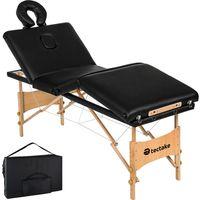 tectake 4 Zonen Massageliege Kim mit Polsterung und Holzgestell - schwarz