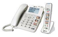 Geemarc AmpliDECT COMBI PHOTO 295 Combo Seniorentelefon schnurgebunden 30 dB (+Anrufbeantworter+ )  und Zusatz-Dect-Telefon mit 4 Fototasten - Deutsche Version