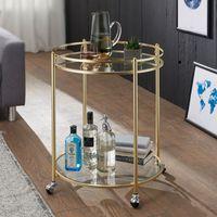 WOHNLING Design Servierwagen JAMES Gold Ø 57 cm Beistelltisch   Teewagen Metall mit Rollen   Küchenwagen mit Glasplatten   Barwagen Rund 75 cm hoch   Küchentrolley Modern   Rollwagen