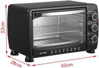 WOLTU BF09sz Mini Backofen 20 Liter Pizzaofen Glastür mit Backblech mit Timer 100-250°C 1400 Watt Schwarz
