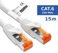 mumbi LAN Kabel 15m CAT 6 Netzwerkkabel geschirmtes F/UTP CAT6 Ethernet Kabel Patchkabel RJ45 15Meter, weiss