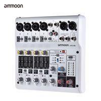ammoon AM-6R 8-Kanal Digital Audio Mixer Mischpult Eingebaute 48V Phantomspeisung Unterstützt von 5V Power Bank mit Netzteil USB-Kabel
