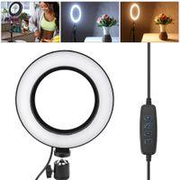 """6"""" 8W LED Dimmbar Ringlicht Ringlampe Studiolicht Zusatzlicht Fuelllicht+Stativ für Fotografie Selfie Live Make up YouTube 1440-1800LM 2900-5600K"""