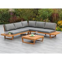 MERXX Loungeset Eck-Lounge Sitzgruppe VALPARAISO aus Akazienholz, mit Polstern grau