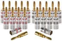 Poppstar 20x High End Bananenstecker, Bananas für Lautsprecherkabel (bis 6 mm²), Lautsprecher, AV Receiver, 24k vergoldete Kontakte (10x schwarz, 10x rot)