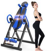 Yoleo Schwerkrafttrainer Inversionsbank klappbar Rückentrainer, volle vertikale Inversion 180° unterstützt maximal 136KG mit Kopfstütze Rückenkissen Schutzgürtel Körpergrßenskala (Blau)