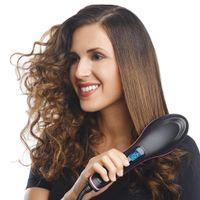 Glättbürste, Haarglätter Bürste mit Keramische Heizung Glättungsbürste Ionen Haarbürste Haarglättung Kamm Hitzebeständigen mit LCD Anzeige