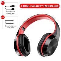 Wireless Headset Bluetooth V5.0 HD-Mikrofon Sportkopfhörer Musik kopfhörer Faltbares Headset, Rot
