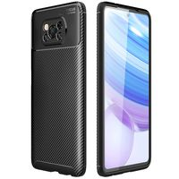 Xiaomi Poco X3 NFC Hülle, LaimTop Karbonfaser Anti-rutsch Tasche Case Stoßfest TPU Silikon Rückseiten Objektiv Schutzhülle für Xiaomi Poco X3 NFC Schwarz