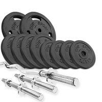 Hop-Sport Guss Hantel-Set 37kg  SZ-Stange Kurzhantelstange 30mm, 1x Curlstange, 2x Kurzhanteln, 2x5kg, 4x2,5kg, 4x 1,25kg