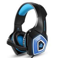 KZKR Kabelgebundener Over-Ear-Kopfhörer Gaming-Headset  mit Rauschunterdrückung und LED-Licht, Blau