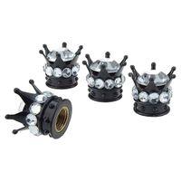 4 x Premium Ventilkappen Ventildeckel Staubdicht Kappe für Auto, Motorrad und Fahrrad, Crown Diamond Weiß 12,8 x 15,8 mm