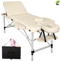 ecoMI - 3-Zonen Massageliege – klappbar & höhenverstellbar – mobile Alu Kosmetikliege mit Kopfschütze, Armlehnen & Tasche - 180 x 60 cm - Beige