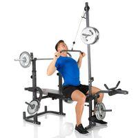 HAMMER Hantelbank Bermuda XT Pro multifunktionale Fitness Trainings Bank mit seitlichem Latzug, ohne Gewichte