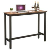 VASAGLE Bartisch mit stabilen Metallgestell | 120 x 40 x 100 cm einfacher Aufbau | schmaler Küchentisch Stehtisch vintagebraun-schwarz LBT12X