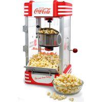 Coca-Cola SNP-27CC Kettle Popcorn Maker elektrisch Drucktasten Kurbel Rot-Weiss