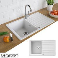 Bergström Granit Spüle Küchenspüle Einbauspüle Spülbecken 765x460mm Weiß