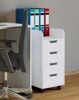 VCM Rollcontainer Bürocontainer Schubladenschrank Büroschrank Schubladen Konal Mini Weiß