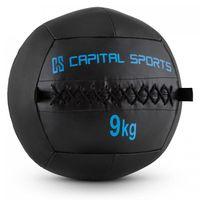 CAPITAL SPORTS Epitomer - Medizinball, Wall Ball, Fitness Ball, Krafttraining, Ausdauertraining, Functional Training, vernähtes Kunstleder, griffige Oberfläche, Studio Qualität, Farbe: schwarz, 9 kg